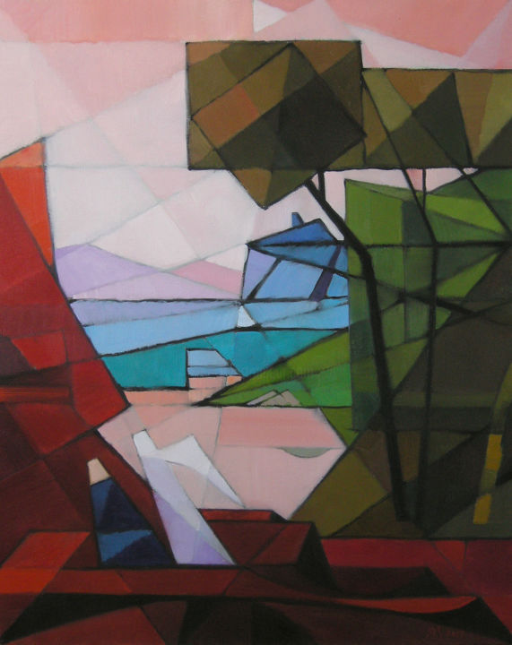 Abstract landscape. Inspired by Claude Lorrain. - ©  abstract, art, expressionism, landscape, angel, painting, figure in landscape, figure, grey sky, urban, modern, blue, brown, figures, grey, lilac, pink, red, rose, yellow, originalart, tree, geometric, Bible Online Artworks