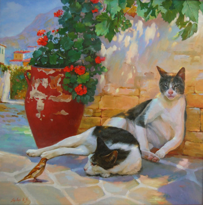 Cat's Siesta - © 2015 paintingswithcats, paintingfromgreece, paintingsiesta, paintingforsale, buypainting Online Artworks