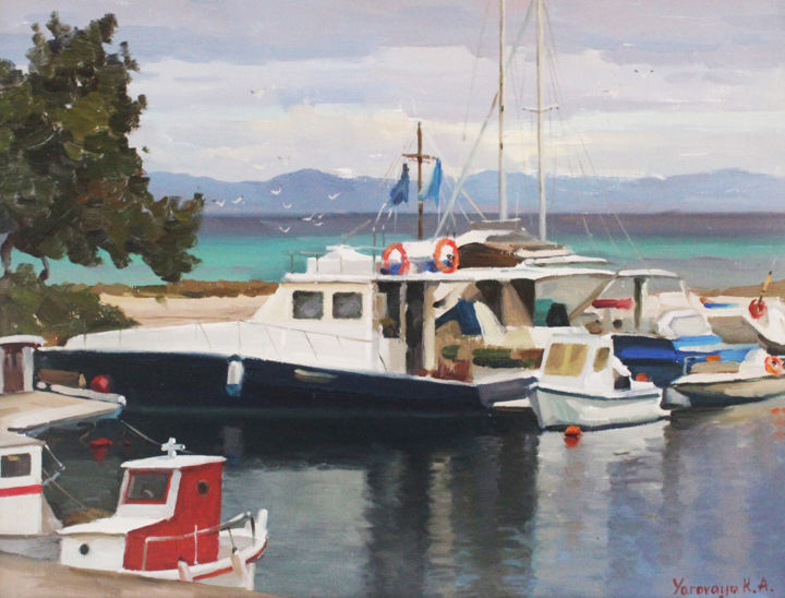 Boats in the bay - © 2019 neapotidea, halkidiki, painting Online Artworks
