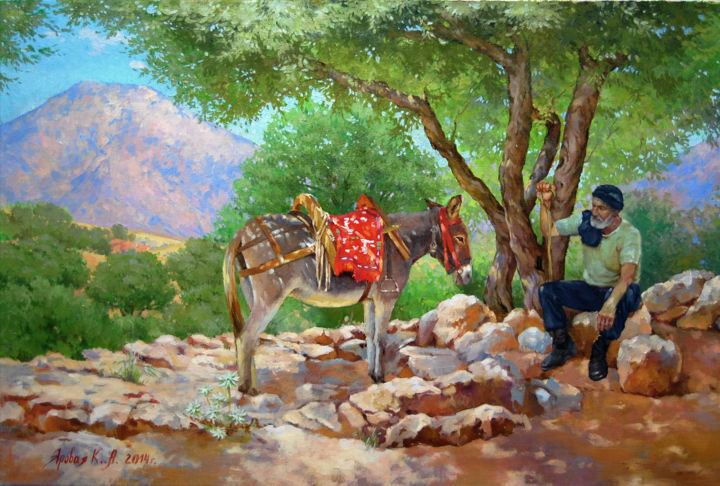 The wisdom of the mountains - Painting,  50x60x2.5 cm ©2015 by Ksenia Yarovaya -                                                                                                                    Portraiture, Realism, Contemporary painting, Mountainscape, Tree, Culture, People, Rural life, art, paintingmountains, greek, lovegreece