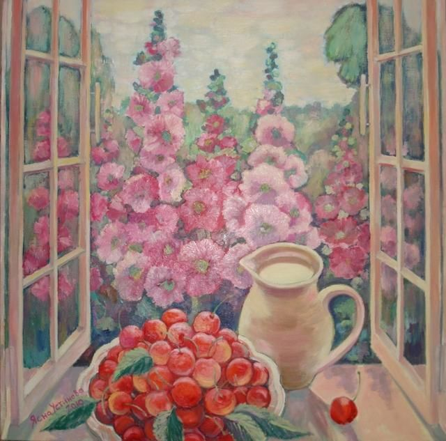 Окно в сад, черешня, мальва - Painting,  31.5x31.5 in, ©2010 by YASNA -                                                              summer garden
