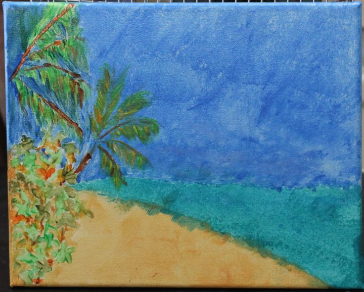"""Painting titled """"Sandy Beach"""" by Jaque Chayan, Original Art, Acrylic"""
