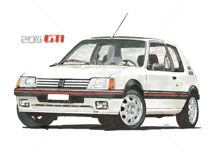 Peugeot 205 gti 1l9 - Drawing, ©2016 by dessinludo -                                                                                                                                                                                                                                                                                                                                          Car, 205 gti, 205, peugeot, promarker, prismacolor, dessin