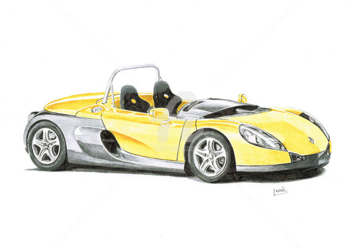 Renault Spider - Drawing,  8.3x11.8 in, ©2016 by dessinludo -                                                                                                                                                                                                                                                                                                                                          Automobile, Car, renault, spider, prismacolor, voiture, cars