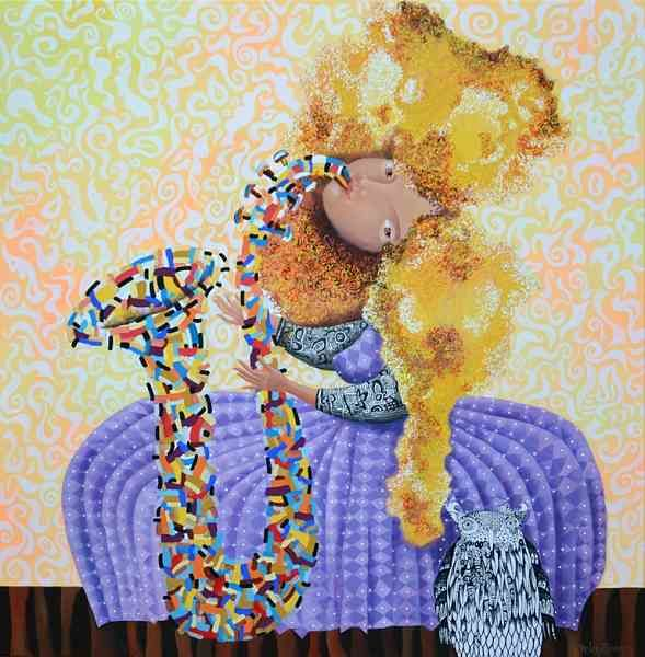 """Painting titled """"Dreamtime jazz"""" by Yelena Revis, Original Art, Acrylic Mounted on Stretcher frame"""