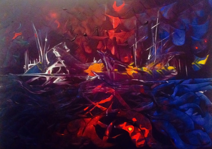 """Painting titled """"boats"""" by Yensen, Original Art, Acrylic"""