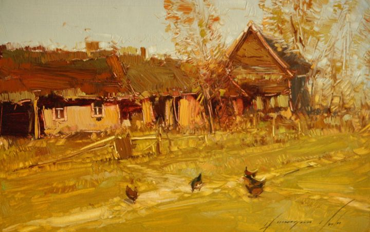 Village yard scene landscape painting original oil on for Oil paintings of houses