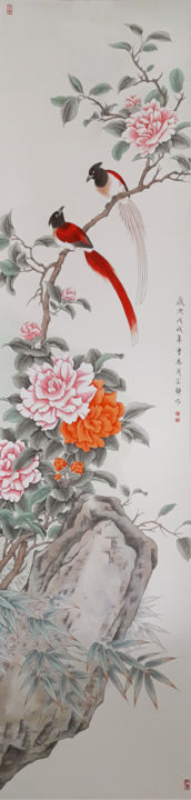 Camellia and red Magpies - Drawing,  51.2x12.6 in ©2018 by Ching -                                                                                                                    Photorealism, Classicism, Contemporary painting, Asia, Seasons, Botanic, Love / Romance, Flower, Chinese painting, Magpie, Camellia
