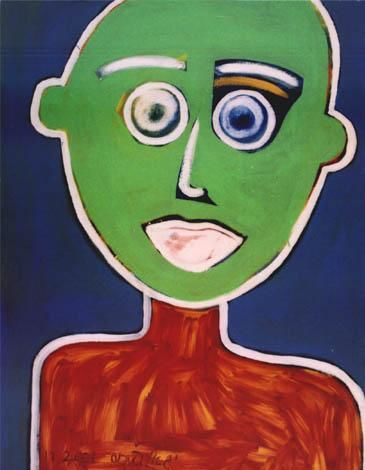"""Painting titled """"Self  Portrait in G…"""" by Yigal Pinhas, Original Art, Oil"""