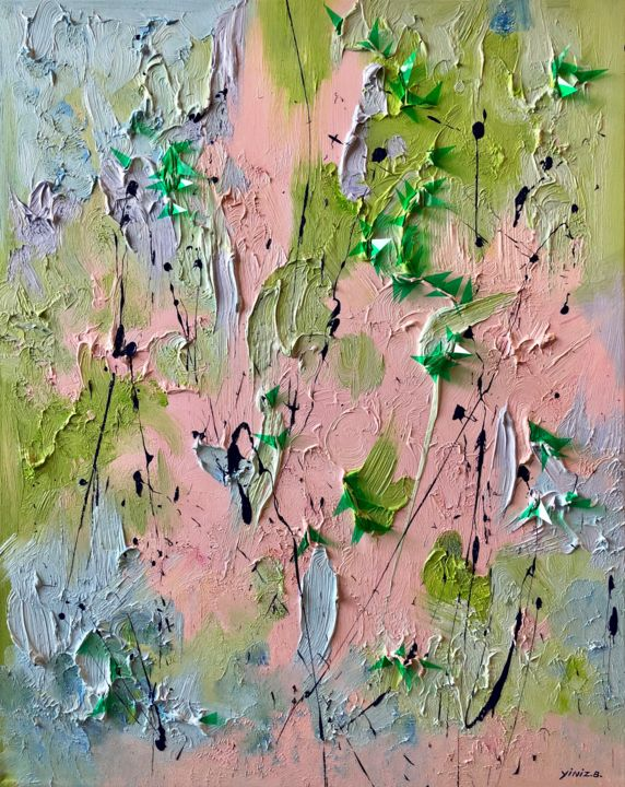 Chalcedony - Painting,  31.9x25.6x1.6 in, ©2018 by yini zhao -                                                                                                                                                                                                                                                                                                                                                                                                                                                                                                                                                                                                                                                                                      Abstract, abstract-570, Wood, Plastic, Canvas, Abstract Art, Garden, Nature, stone, nature, colorful, pink, rose, transparant