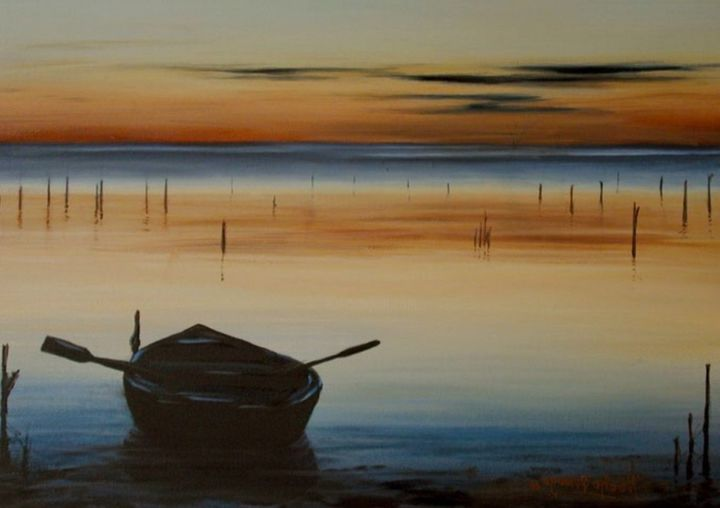 """Painting titled """"Boat in the Lake"""" by Yitzy Rosengarten, Original Art, Acrylic"""