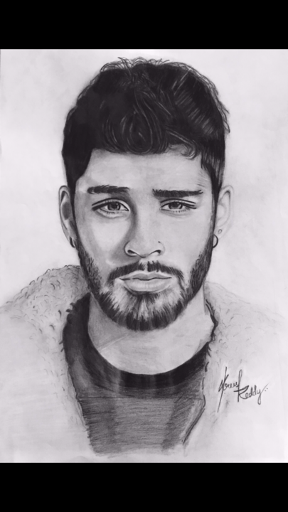 Realistic pencil sketch of zayn malik 2018 drawing 29 7x21x0 1 cm