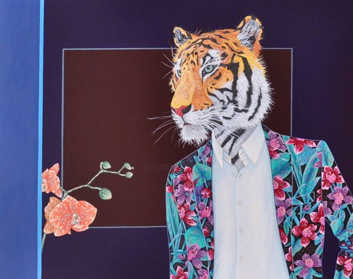 For your Eyes Only - Painting,  36.2x28.7x1 in ©2018 by Yann Michael Talvas -                                                                                                        Figurative Art, Contemporary painting, Surrealism, Animals, Fairytales, Colors, Flower, Tigre, Tiger, Mode, Fashion, Flowers