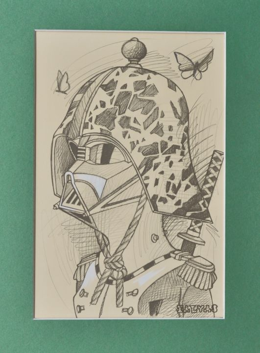 A Night to Remember 2 - Drawing,  15.8x11.8 in, ©2019 by Yann Michael Talvas -                                                                                                                                                                                                                                                                                                                                                                                                                                                                                                  Figurative, figurative-594, Fairytales, Humor, Robots, Science-fiction, Dark Vador, Darth Vader, Star Wars, First Empire