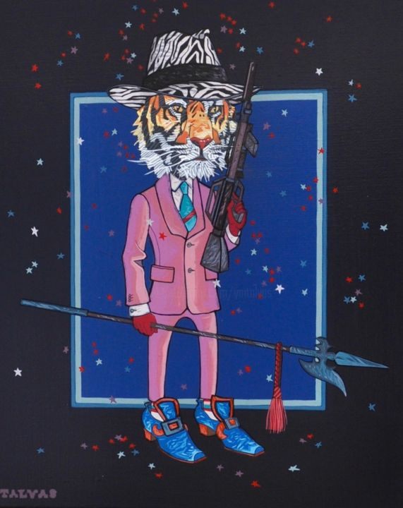 All Night Long - Painting,  16.1x13x0.8 in, ©2017 by Yann Michael Talvas -                                                                                                                                                                                                                                                                                                                                                                                                                                                                                                                                                                                          Figurative, figurative-594, Animals, Fairytales, Colors, Humor, Tigre, Tiger, Stars, Glamour, Mode, Fashion