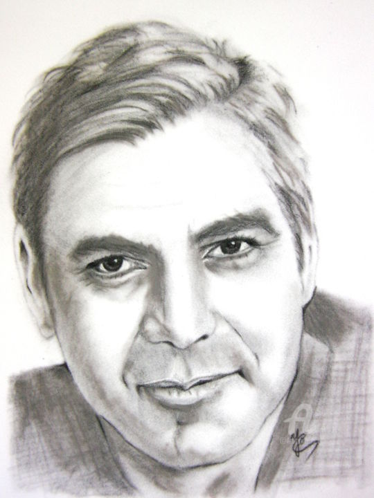 Georges Clooney - Drawing,  15.8x11.8 in, ©2018 by YO Portraits -                                                              Celebrity