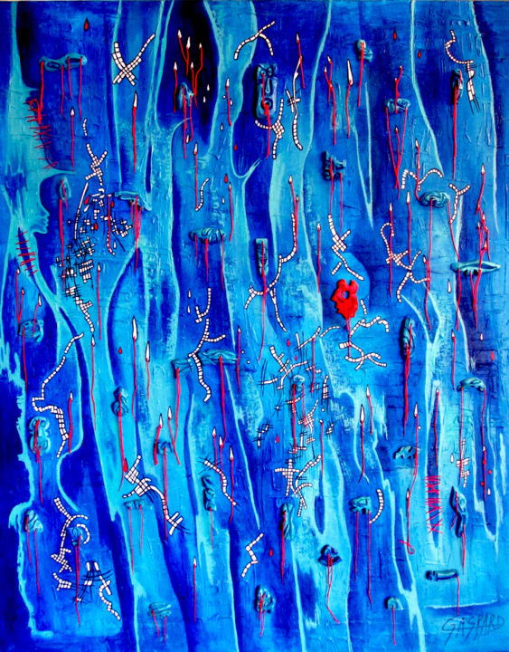 LA PLUIE EST ROUGE COMME BLEU A LAME DE FOND - Painting,  100x81 cm ©2017 by Yolande GASPARD -                                        Abstract Art, Canvas