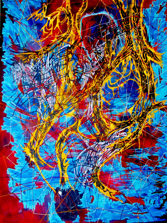 MAIS... TISSEZ-MOI TOUS CES SANGS SOUS TENSION ! - Painting,  116x81 cm ©2018 by Yolande GASPARD -                                        Abstract Art, Canvas