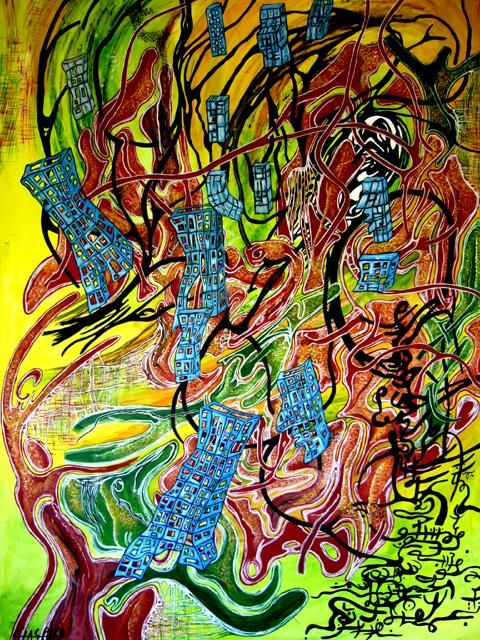 COMPLEXES CITES - Painting,  45.7x31.9 in, ©2006 by Yolande GASPARD -