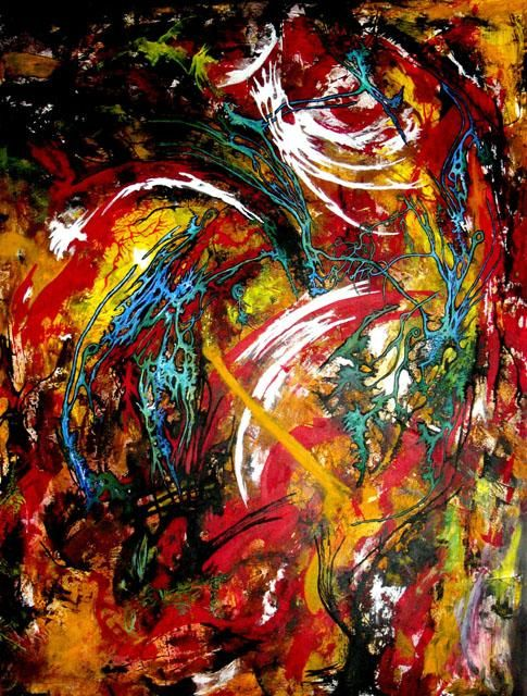 BUISSON ARDENT - Painting,  130x97 cm ©2007 by Yolande GASPARD -