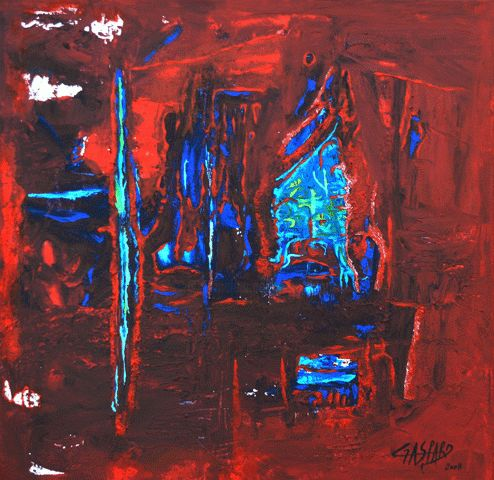GRITO CARIBE - Painting,  15.8x15.8 in, ©2008 by Yolande GASPARD -                                                                                                                                                                                                                                                                  Abstract, abstract-570, Caraïbes, Caribbeen, Caribbean
