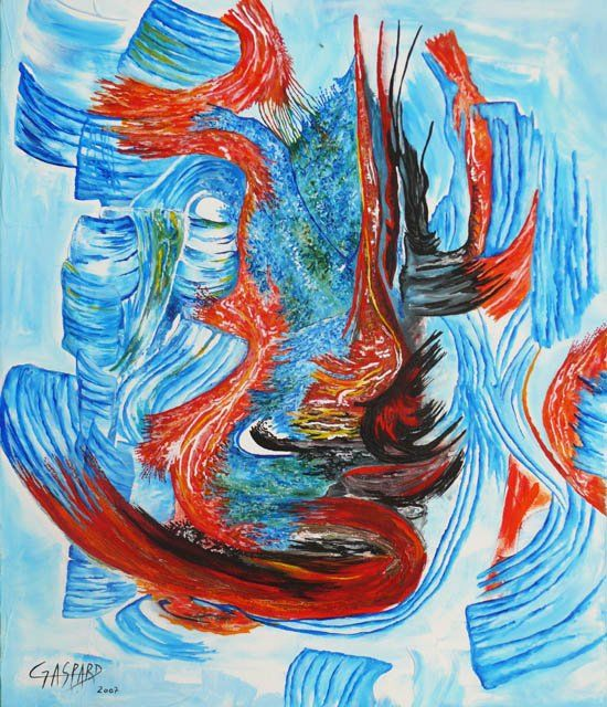 PERPETUAL MOTION - Painting,  25.6x21.3 in, ©2007 by Yolande GASPARD -