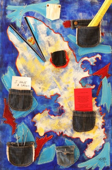 POCHES DE RESISTANCE II - Painting,  39.4x35.4 in, ©2012 by Yolande GASPARD -