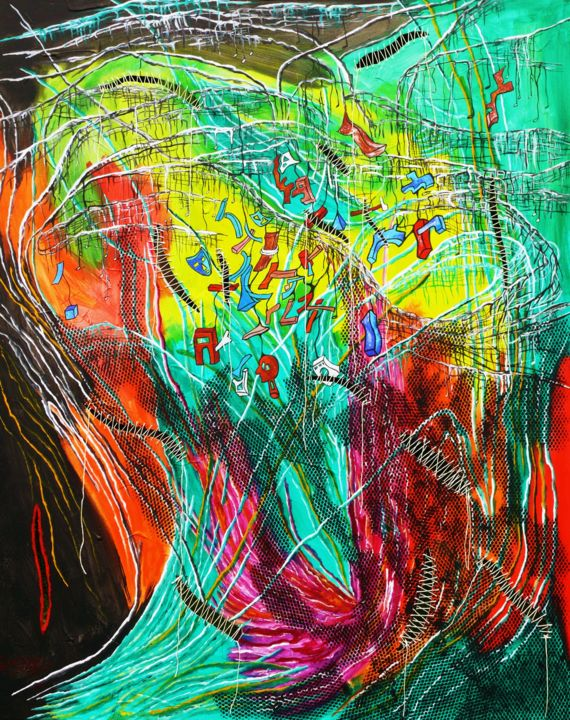 CHAOS FIL-HARMONIQUE - Painting,  39.4x31.9 in, ©2013 by Yolande GASPARD -                                                                                                                          Abstract, abstract-570