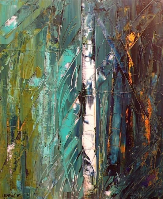 Painting,  60 x 73 cm ©2010 by YOHAN CHICHE -  Painting, Abstract Painting, ABSTRAIT CHICHE YOHAN LEPRIN EDWIGE ART ARTISTE  VIE IMAGINATION   COULEUR BLEU ROUGE ABSTRACTION BAMBOU CONTEMPORAIN VERT JAUNE  NATURE