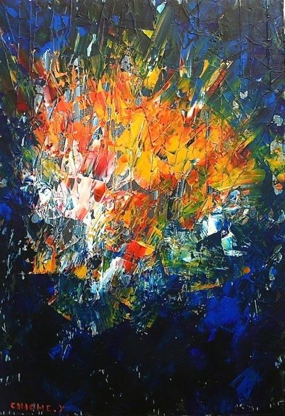 Painting,  50 x 75 cm ©2012 by YOHAN CHICHE -  Painting, Abstract Painting, ABSTRAIT  LEPRIN ART ARTISTE IMAGINATION REVE SOIR CONTE ET LEGENDE CONTEMPORAIN ROSE BLANC AMOUR  TENDRESSE ABSTRAIT COULEUR BLEU ROUGE ABSTRACTION EXPOSITION COLOMBES