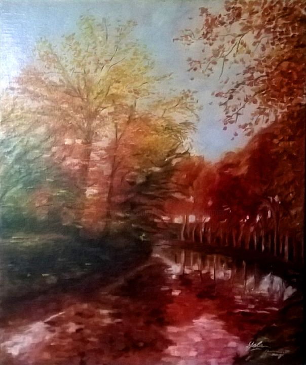Automne rouge - Painting, ©2010 by Yolaine Barbey Vannier -                                                                                                                                                                                                                          Expressionism, expressionism-591, Nature, nature