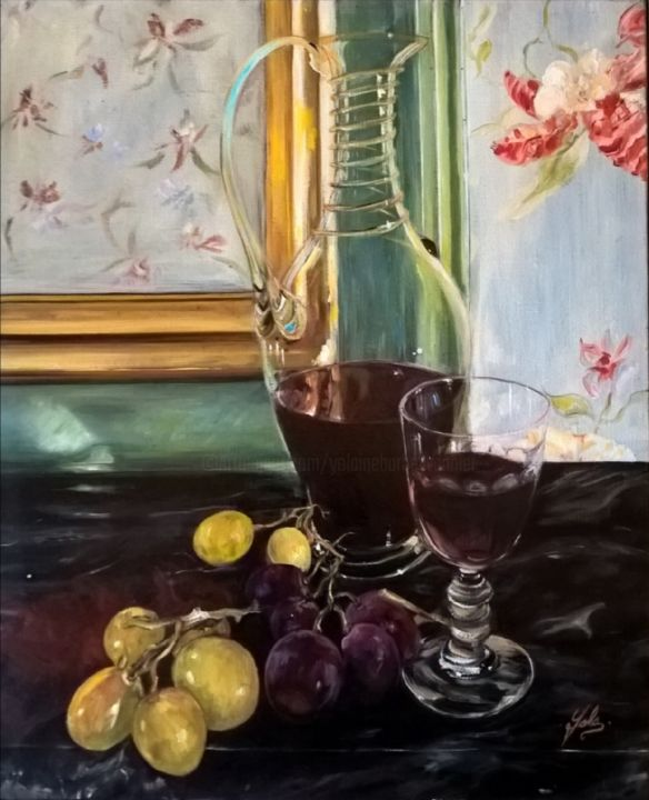 vendange.. - Painting,  18.1x15 in, ©2012 by Yolaine Barbey Vannier -                                                                                                                                                                                                                                                                                                                  Figurative, figurative-594, Still life, raisin, vin, carafe