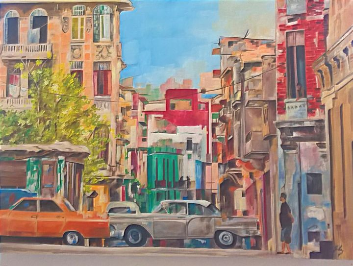 Cuba l' éternel . - Painting,  25.6x36.2 in, ©2014 by Yolaine Barbey Vannier -                                                                                                                                                              Other, Cities, ville
