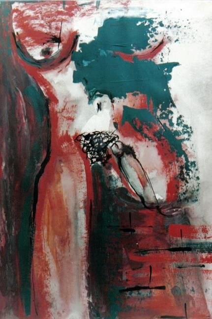 Erotic I - Painting,  65x50 cm ©2008 by Yolanda Vela -                            Nude, contemporary painting, mixed media, erotic art, erotic paintings
