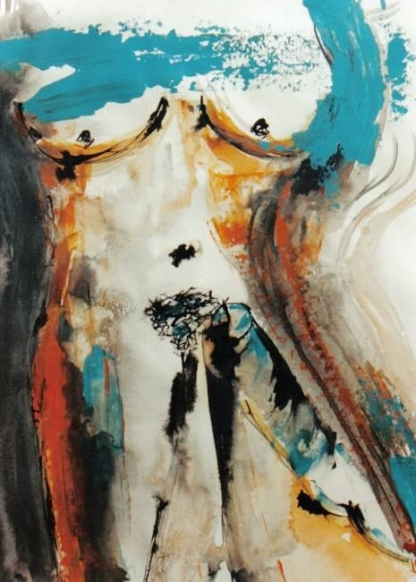 Erotic IV - Painting,  65x50 cm ©2008 by Yolanda Vela -                            Nude, contemporary painting, mixed media, erotic art, erotic paintings