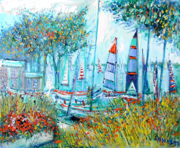 Compétitions Nautiques - Painting,  19.7x24 in, ©2014 by Yolande Ardissone -                                                                                                                          Figurative, figurative-594