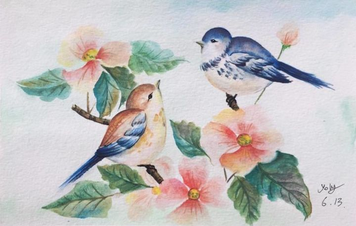 """Painting titled """"35403555-1597039750…"""" by Yolychan, Original Art, Watercolor"""