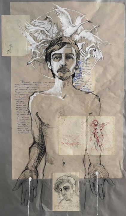 """Drawing titled """"Self Portrait with…"""" by Yordan Mihalev, Original Art, Ballpoint pen"""