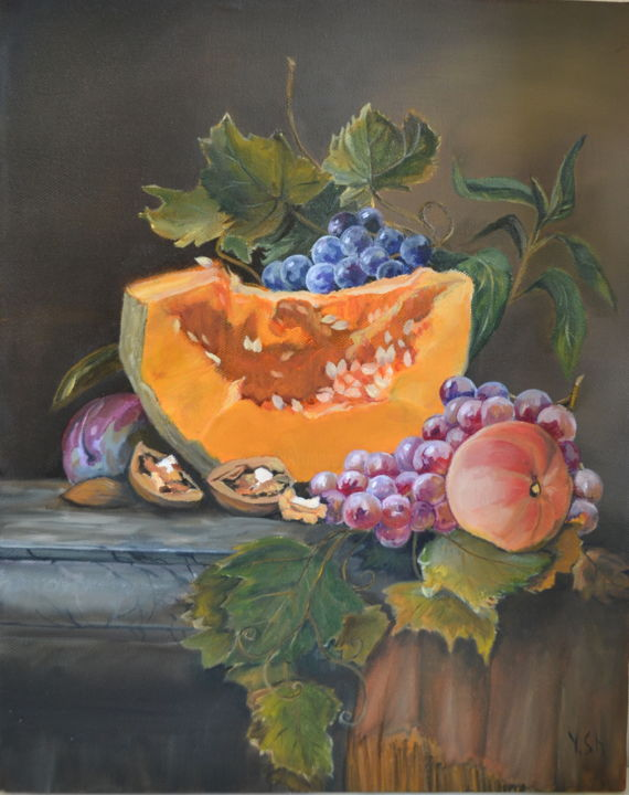"""Painting titled """"Still life with pum…"""" by Yulia Sheverova, Original Art, Oil Mounted on Stretcher frame"""