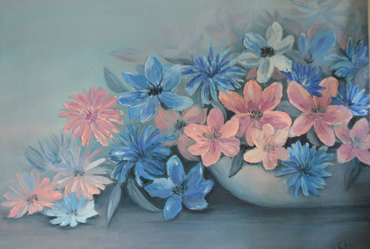 """Painting titled """"Floral mood. Flower…"""" by Yulia Sheverova, Original Art, Oil"""