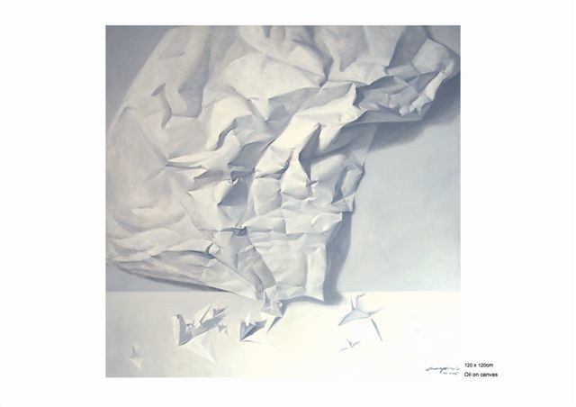 """Painting titled """"Paper Mortal 3"""" by Chen Yun Xiao, Original Art,"""