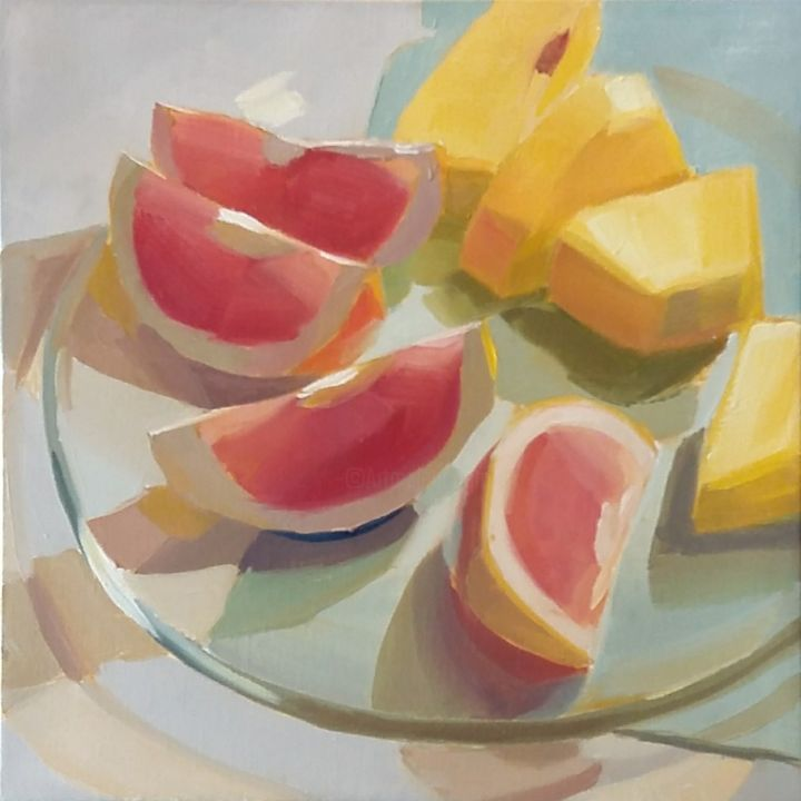 """Painting titled """"Grapefruits and Pin…"""" by Yuri Tayshete, Original Art, Oil Mounted on Stretcher frame"""