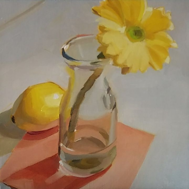 """Painting titled """"Yellow Daisy and a…"""" by Yuri Tayshete, Original Art, Oil Mounted on Stretcher frame"""