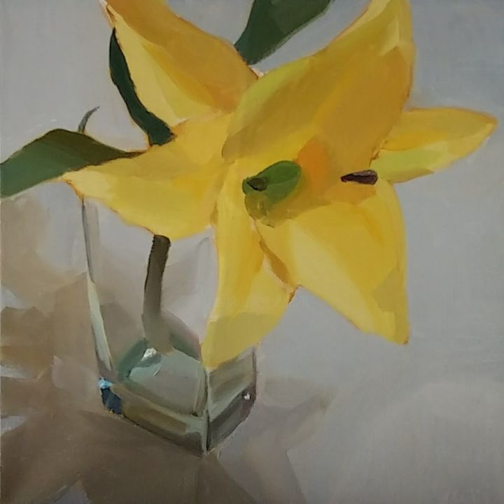 """Painting titled """"Yellow Lily in a Gl…"""" by Yuri Tayshete, Original Art, Oil Mounted on Stretcher frame"""