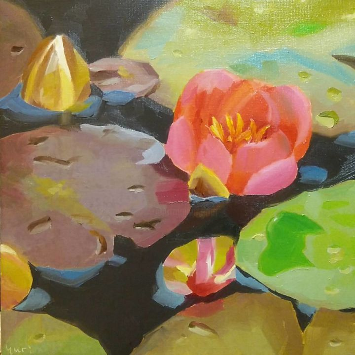 """Painting titled """"Water Lilies"""" by Yuri Tayshete, Original Art, Oil Mounted on Stretcher frame"""