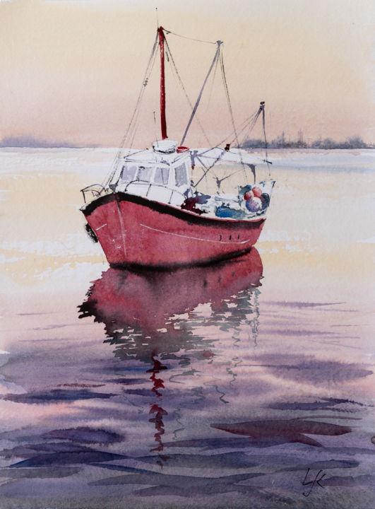 """Painting titled """"Going home"""" by Yuriy Kraft, Original Art, Watercolor"""