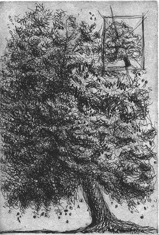 arbre I - Printmaking,  5.9x3.9 in, ©2005 by Yves Coladon -                                                              arbre
