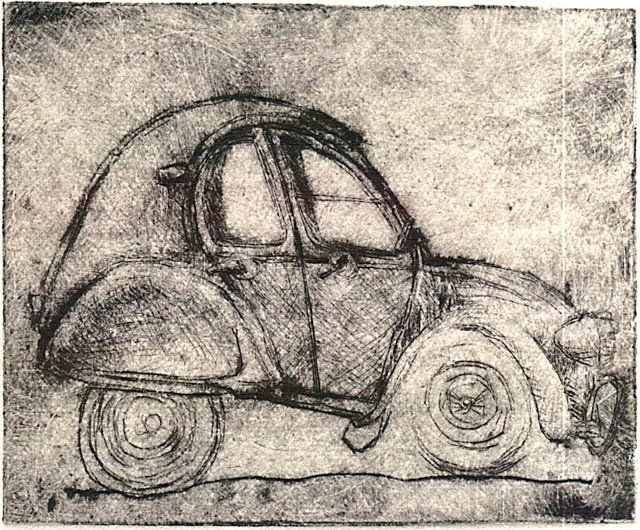 belle deuche - Printmaking,  0.4 in, ©2008 by Yves Coladon -                                                              deux chevaux - voiture