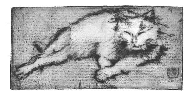 chiffon - Printmaking,  3.2x6.7x0.4 in, ©2005 by Yves Coladon -                                                              chat