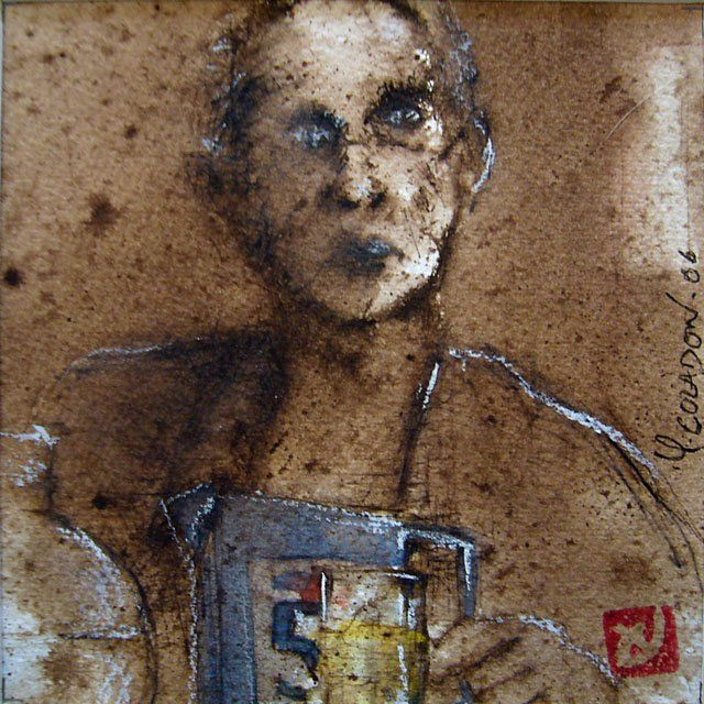 51 - Painting,  5.9x5.9 in, ©2006 by Yves Coladon -